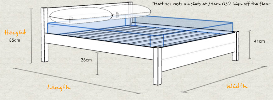 London Wood Bed Frame Sizes and Dimensions