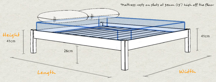 Platform Wooden Bed Frame Dimensions and Sizes