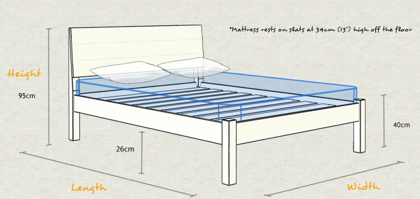 Kensington Wooden Bed Frame Schematic Design Size and Dimensions