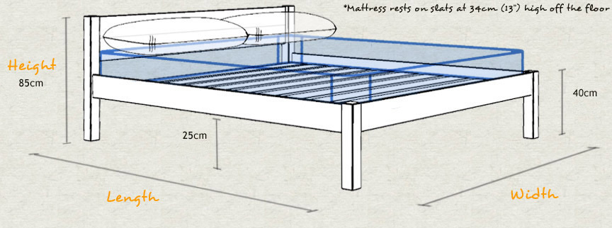 White Knight Wooden Bed Frame Sizes and Dimensions