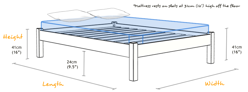 Details about Platform Bed - Wooden Bed Frame - by Get Laid Beds