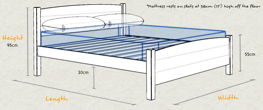 Traditional Country Wooden Bed Frame Sizes and Dimensions
